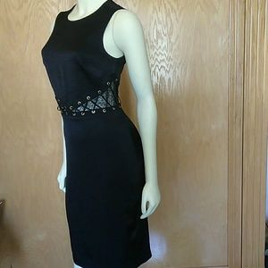 Nwt black Bebe midi dress 4 side corset cutouts